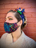 Candy Brain// Psychedelic Blue and Candy Sprinkles Reversible Face Mask with Filter Pocket
