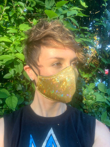 Gold Disco/ Black Checkered Parachute Reversible Face Mask