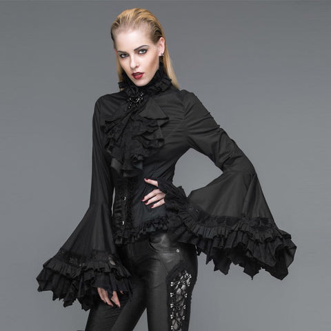 Devil Fashion Long Bell Sleeve Blouse