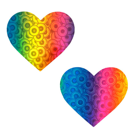 Kaleidoscope Eyes Rainbow & Spiral Pleather Heart Pasties