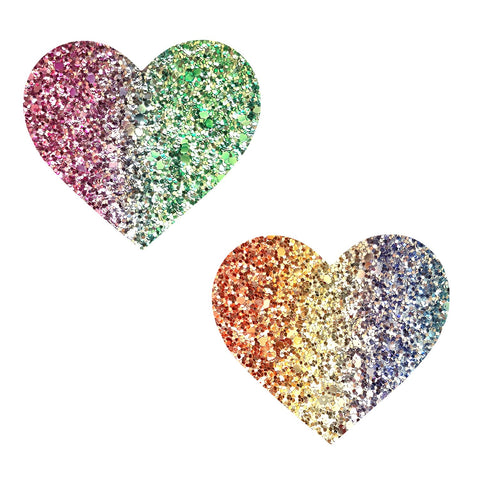 Super Sparkle Rock Kandi Multicolor Glitter Heart Pasties