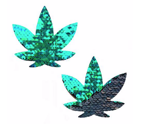 Ariel Green to Black Sequin Gold Dope AF Weed Leaf Nipztix Pasties