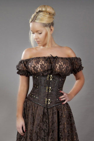 C-Lock Brown Underbust Corset from Burleska