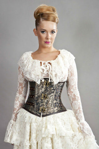 """Candy"" C-Lock King Gold Brocade Brass Underbust Corset from Burleska"
