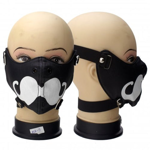 Black Vinyl Mask with Mustache