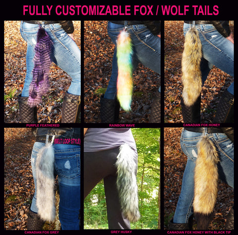 Secret Stash Wolf/Fox Tails Choose any Fur (FULLY CUSTOMIZABLE)
