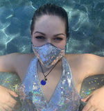 Metallic Sparkle // Silver Rainbow and Pink Mermaid Sequins Reversible Face Mask