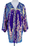 Iridescent Purple Pink Paillete Mid-Length Duster