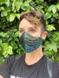Paisley in Turquoise//Olive Sheen Satin Reversible Face Mask