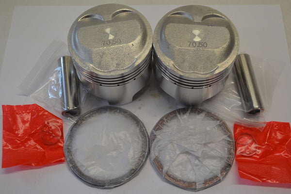 Honda 78-79 CB400T 79 CM400T Piston Kit - 2 Kits - STD - New Reproduction