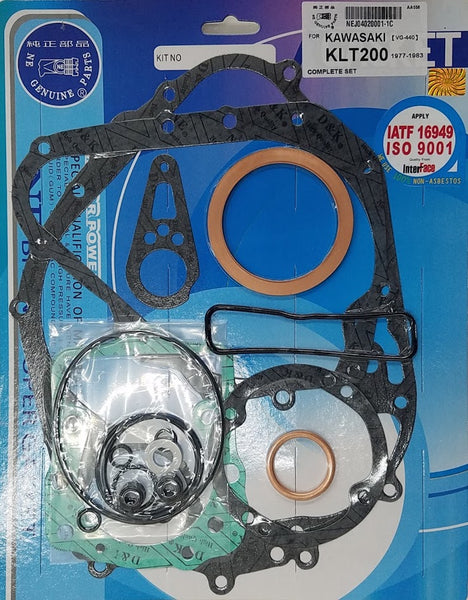 Kawasaki 78-79 KZ200 81-83 KLT200 Complete Engine Gasket Kit Set