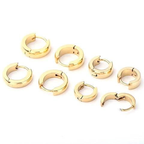 8pcs Polished Stainlss Steel Hinged Small Hoop Stud Earrings