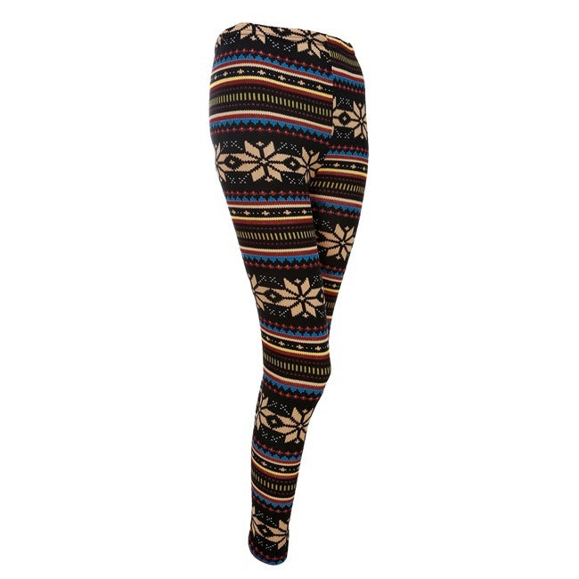 Womens Winter Snowflakes Pattern Warm Knitted Leggings Tights Pants