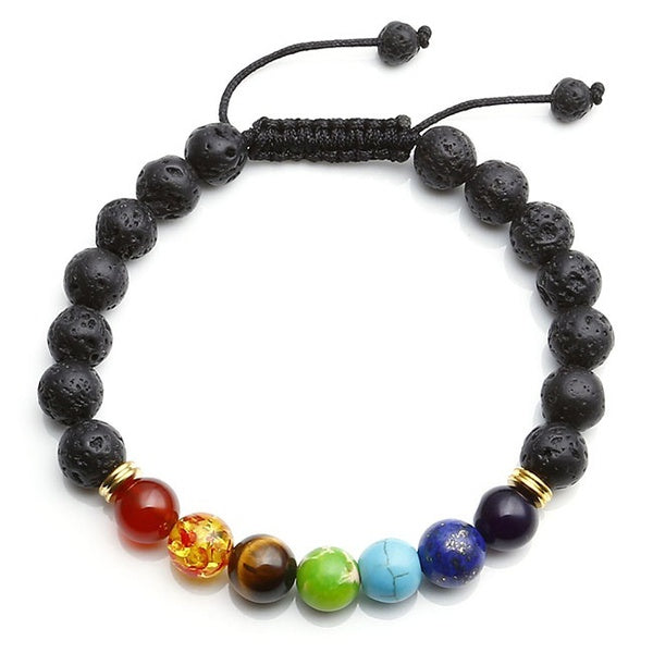 7 Chakra Gems Black Lava Rock Stone 8mm Beads Healing Point Bracelet Adjustable