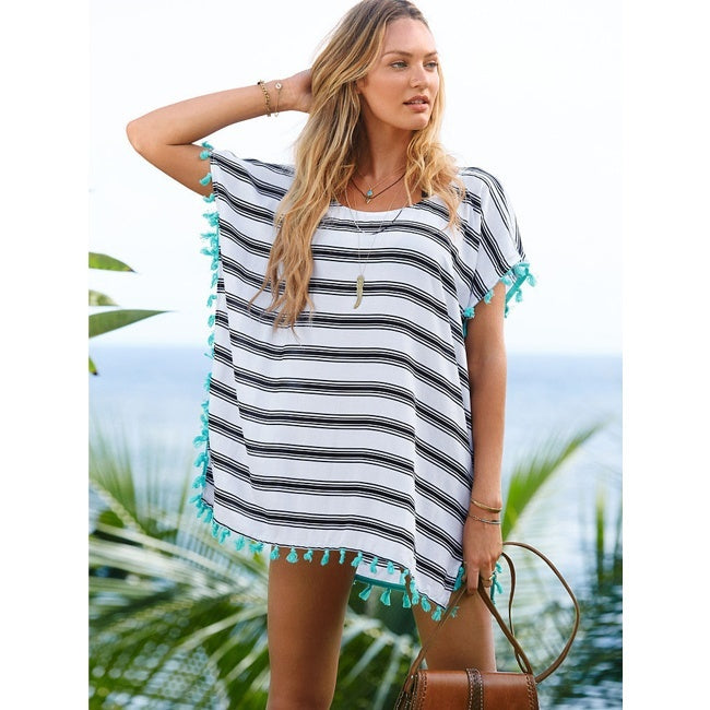 Women's Cover Up Stripes Pompom Trim Chiffon Beachwear Bikini Cover Up