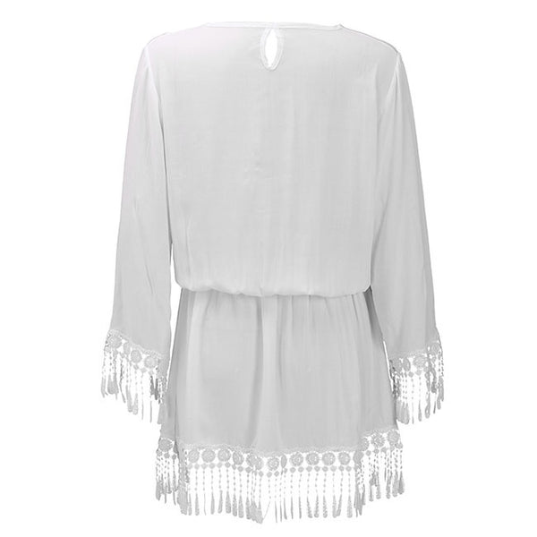 Women's Tassel Beach Swimsuit Cover Up Mini Dress Long Top White