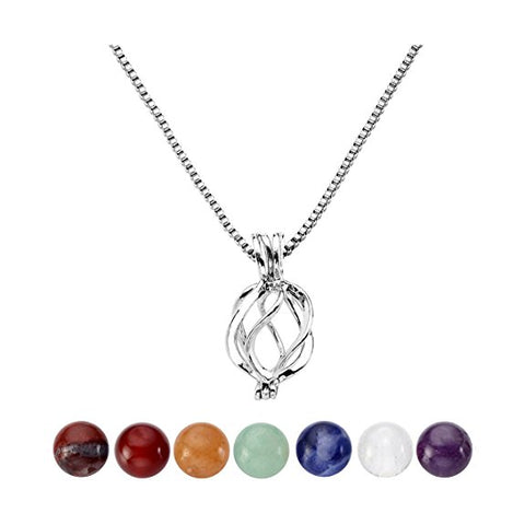 7 Chakra Reiki Healing Crystal Gemstones Hollow Flower Locket Necklace