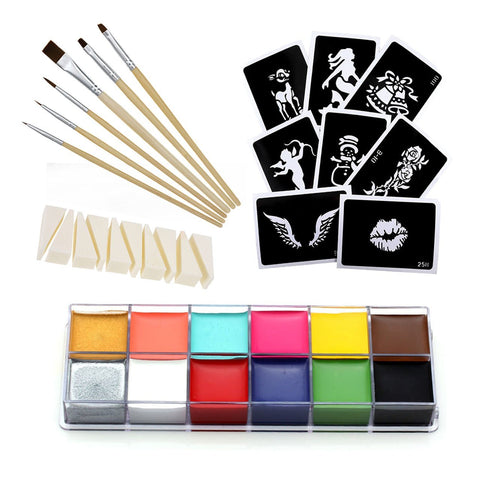 Professional Body Paint Oil Halloween Wax 12 Colors for Art Party Fancy Make Up kits #1 Set