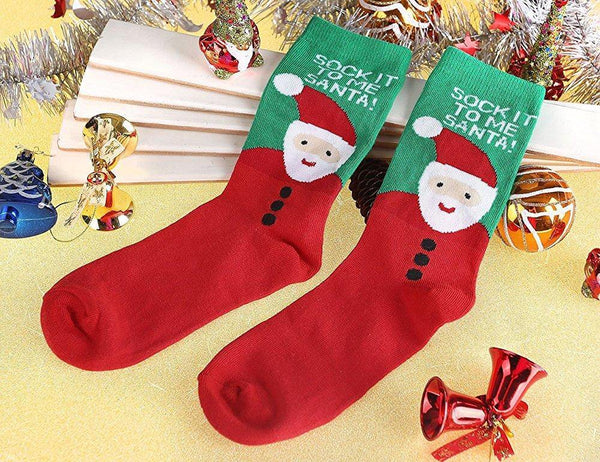 12Pairs Women's Cute Pattern Colorful Cotton Screw Socks,Christmas Style