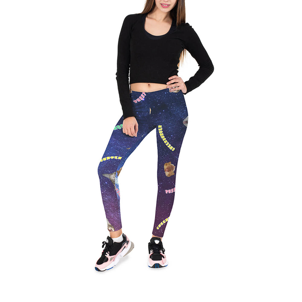 Ayliss Women Cat Printed Leggings High Waist Yoga Skinny Pants Elastic Tights