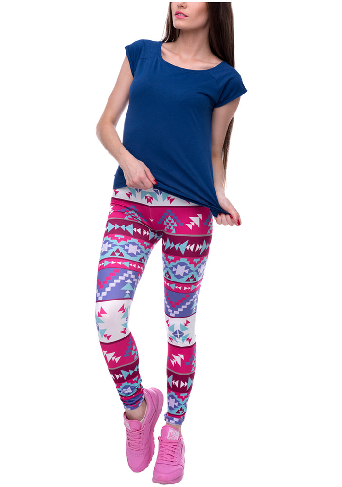 Ayliss Women Printed Stretch Leggings Elastic Pants Multi-Printed Rose Purple