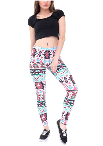 Ayliss Women Printed Stretch Leggings Elastic Pants -Red Wine