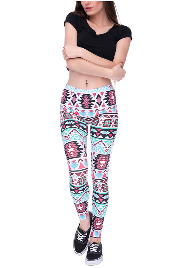 Ayliss Women Printed Stretch Leggings Elastic Pants Red Wine