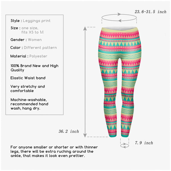 Ayliss Women Printed Stretch Leggings Elastic Pants Multi-Printed Rose Green