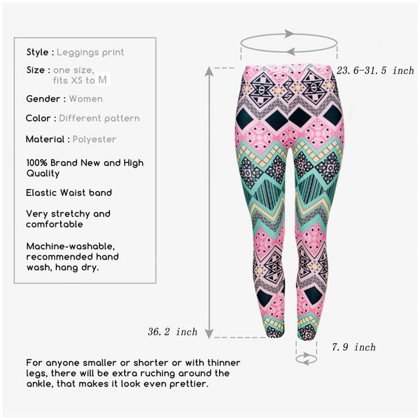 Ayliss Women Printed Stretch Leggings Elastic Pants Multi-Printed Pink Green