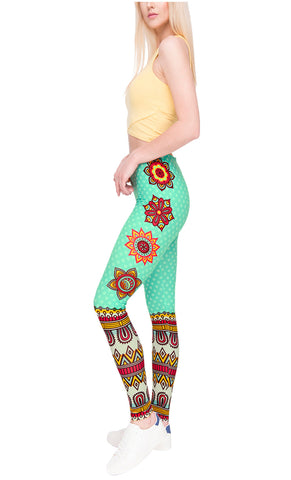 Ayliss Women Printed Stretch Leggings Elastic Pants Mandragora Printed Light Green