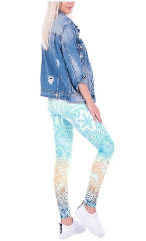 Ayliss Women Printed Stretch Leggings Elastic Pants Mandragora Printed White Blue