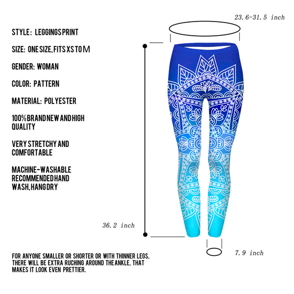 Ayliss Women Printed Stretch Leggings Elastic Pants Mandragora Printed Navy