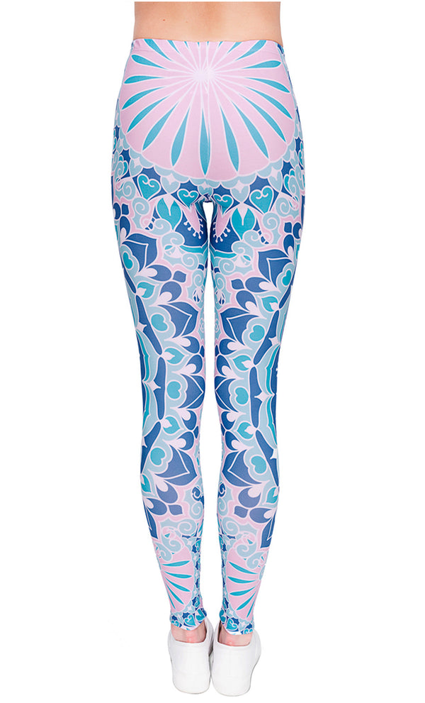 Ayliss Women Printed Stretch Leggings Elastic Pants Mandragora Printed Pink Blue