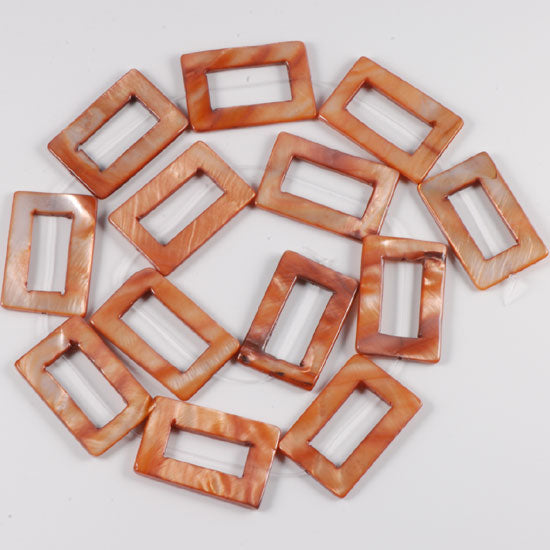 20*30 Shell Loose Gemstone Beads with holes for Jewelry Making Hollow - Light brown