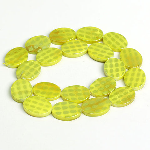 13*18 Shell Loose Gemstone Beads Elliptical Spot Pattern for Jewelry Making - Yellow