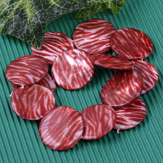 30mm Shell Gemstone Round Pattern Loose Bead for Jewelry Making - Dark Red