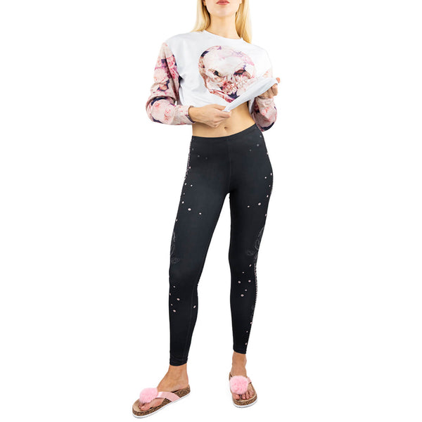 Ayliss black rose 3d digital print women yoga leggings