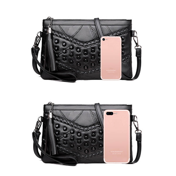 Ayliss Women Leather Studded Crossbody Bag with Tassel Top Zipper Rivets Shoulder Bag Clutch Purse