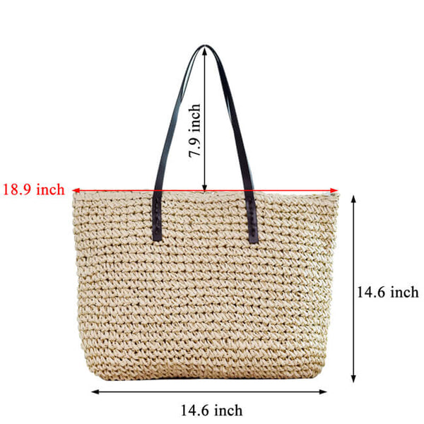 Ayliss Womens Hand-woven Straw Shoulder Bag Large Summer Beach Handbag Tote with Zipper