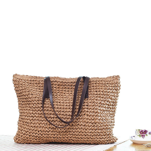 Ayliss women straw woven shoulder bag for hiking beach