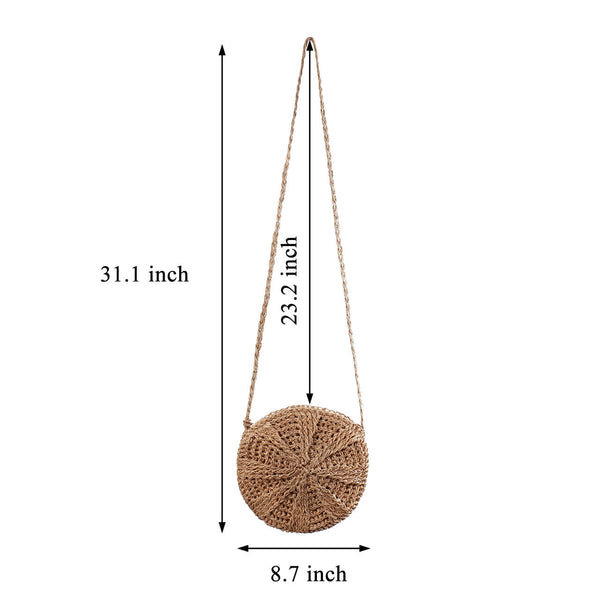 Ayliss Women Straw Bag Crossbody Handmade Woven Summer Beach Top Zipper Shoulder Purse with Tassel