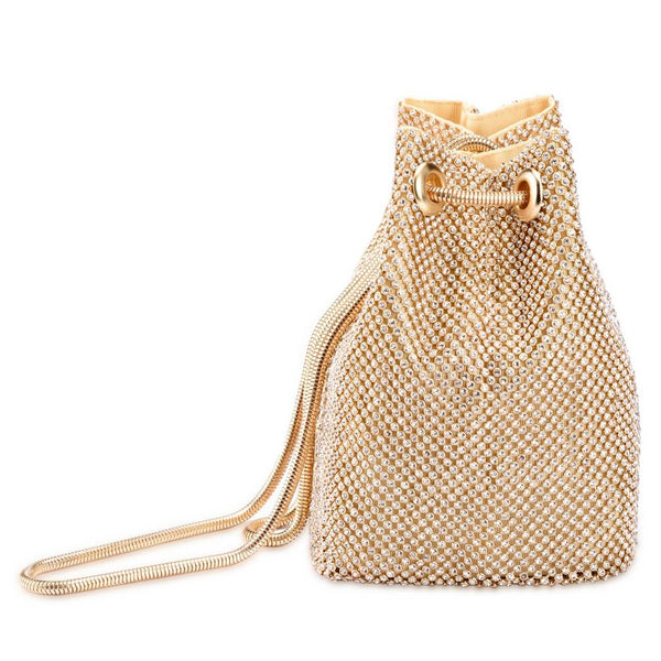 Ayliss Women's Full Rhinestones Bucket Bag Crossbody Shoulder Evening Shinny Bling Clutch Purse Bucket Handbag