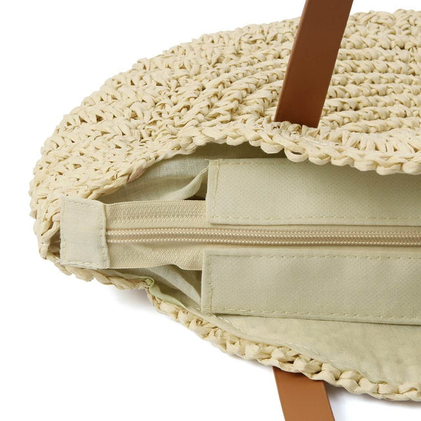 Ayliss handmade straw shoulder bag with zipper, baa012501