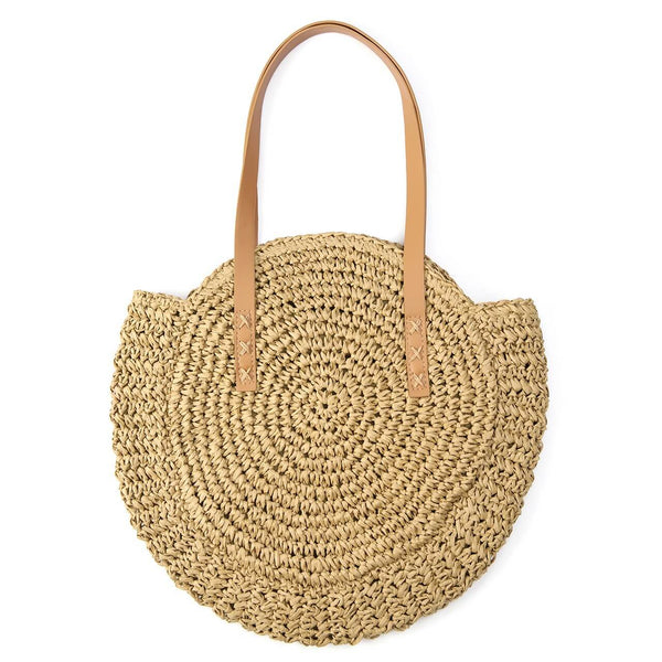 Ayliss women fashion straw woven shoulder bag khaki, front side, baa012502