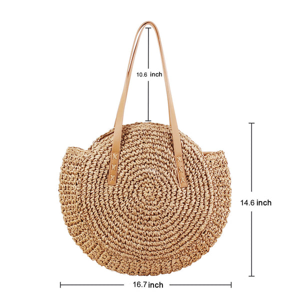 Ayliss Women Straw Woven Tote Beach Shoulder Bag Handmade Large Weaving Handbag
