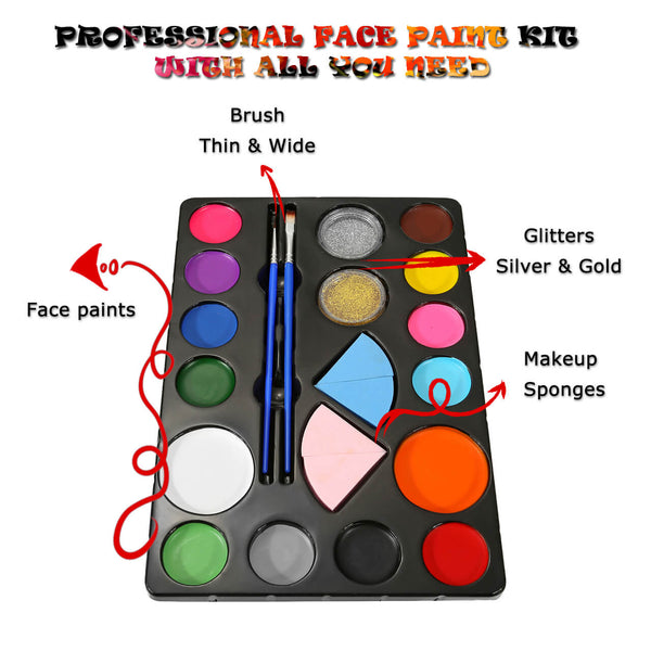 gal009901 ccbeauty kids party face painting kit 14 colors for halloween costume