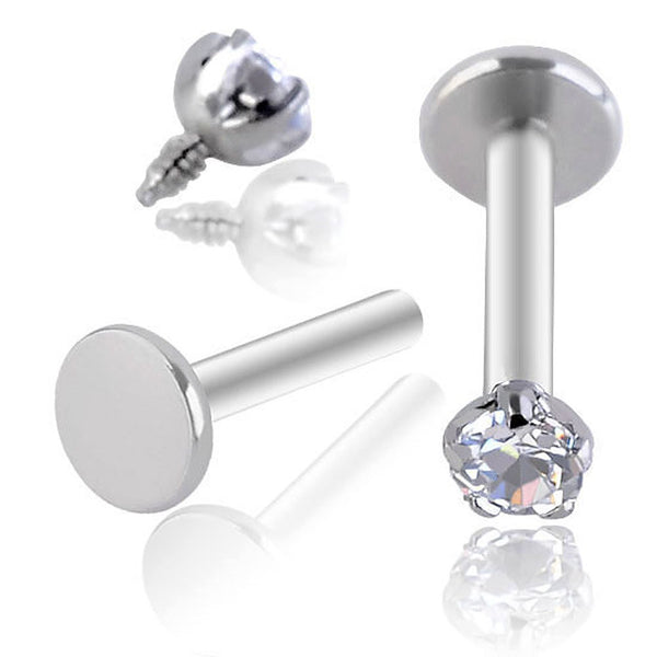 1 Pc Stainless Steel Labret Tragus Cartilage Ear Stud Earrings Inlaid Round Shiny Zirconia Gemstone