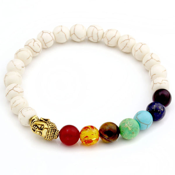7 chakras bracelet with gold buddha