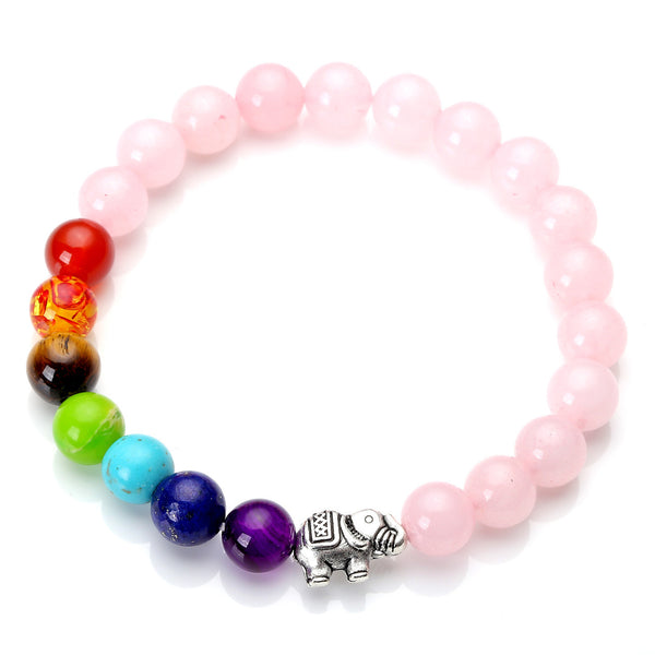 Rose Quartz Bracelet with elephant