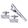 Stainless Steel Cufflinks and Bow Tie Clip Set Stripe, Silver 3pcs